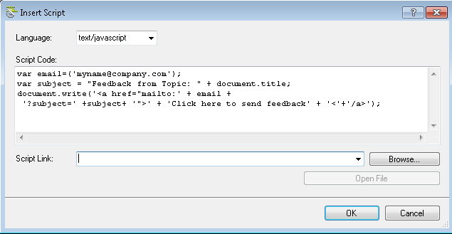 How to create an email link that includes the topic title in